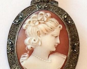 Fahrner Art Nouveau Shell Cameo Pendant Sterling Silver Vintage Jewelry WINTER SALE
