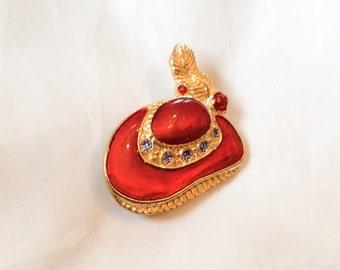 Red Enamel Hat Pin, Rhinestone Brooch, Fashion, Vintage Jewelry, SUMMER SALE