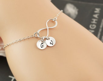 BFF bracelet, friendship bracelet, infinity bracelet with two letters, best friends gifts, long distance, silver bracelet