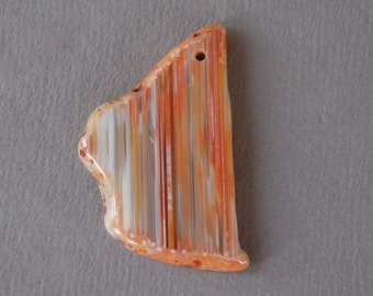 Red Banded Agate Pendant Polished Striped Gemstone Red Orange Gray White Tan 27mmX43mm Irregular Shaped Craft Supply Drilled Hole Focal Bead