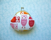 Owls in Pink & Orange coin pure - Valentine Gift, Bridesmaid Gift, Birthday gift. Red