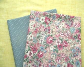 "SALE Vintage Floral Fabric / Grey Fabric Set 32"" x 44"""