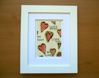 "SALE Love Always Fabric Wall Art Valentine Gift, Anniversary Gift, Wedding gift, Romantic love – Home décor Unframed - 5""x 7"""