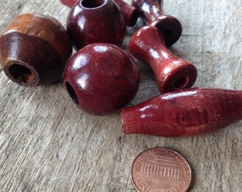 7pcs Large Macrame Wood Beads Sizes 25-45mm Vintage Burgundy Maroon Destash, Jewelry Making, DIY, Craft Supplies, Jewelry Supplies