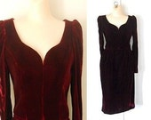 Maroon Velvet Dress Red Velvet Dress Velvet Formal Dress Designer Dress Victor Costa Dress Winter Dress Long Sleeve Dress