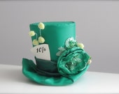 Over the Top Green Alice in Wonderland Inspired Couture Mad Hatter 10/6 Tea Party -  Steampunk Mini Top Hat Headband - Perfect Photo Prop