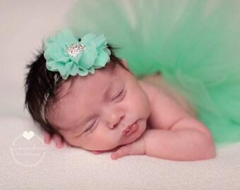 Mint Green Tutu and Shabby Chic Couture Flower Lace Headband (SET) - NEWBORN size - Beautiful Newborn Girl Photo Prop and Keepsake