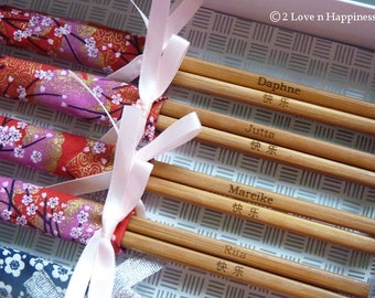 Engraved chopsticks in fabric sleeves and ribbons/ doorgifts/wedding favours/party gifts (min 20pairs)