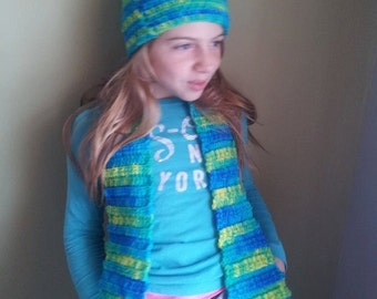 Childs hat and scarf sets, crochet beanie scarf, fall outerwear, childrens hat and scarf sets handmade, Childrens accessory, Summer Sale