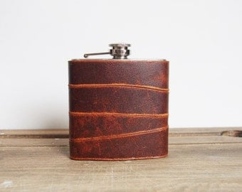 Rust Strips Leather Flask, Recycled Leather Strips, Hand Engraved, Best Man, cowboy leather