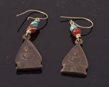 Bronze Buddha Coin Earrings Turquoise Carnelian Zen Dangle Boho Gypsy