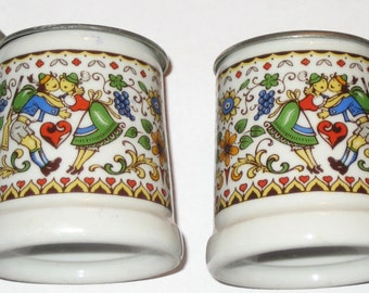 Pair of vintage small or mini steins ceramic with metal tops Rein Zinn BMF