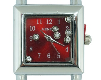 Geneva Floating Stones Solid Bar Ribbon Square Beading Watch Face ~ 26mm ~ Many Colors Available