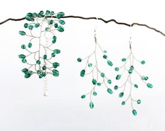 61651_Jewelry set, Emerald jewelry set, Earrings and bracelet set, Wedding jewelry set, Green jewelry, Vine jewelry, Twig jewelry Bridal set