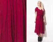 VIntage GAUZE 70s 80s TUE Sleeves Midi FULL Skirt India Fuchsia Dress