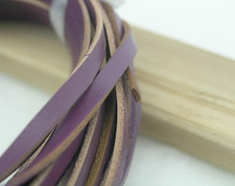 10 YARD 5.0x2.0mm Flat Purple Soft Real Cowhide Leather Cord Without Clasp Lobster