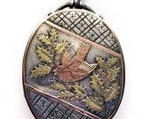 Stunning Victorian Bird & Holly Tri-Color Gold and Silver Aesthetic Locket