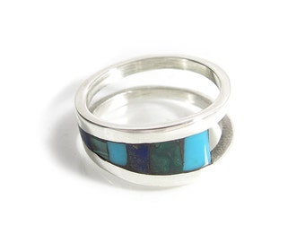 Modern Inlay Ring - Stone Inlay Ring - Unique Inlay Ring - Sterling Silver Inlay Ring - Blue Inlay Ring - Blue Ring - Green Ring - Turquoise