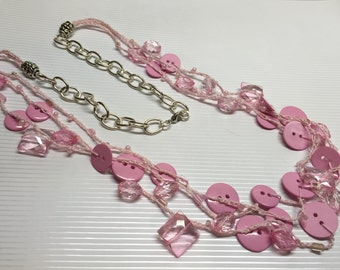 Multi-strand Pink Button Necklace