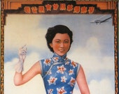Vintage 1940s China Girl Calendar Poster Advertising Tobacco and Cigarettes