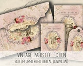 Digital Collage Sheet Download - Paris Envelopes, Tags & Cards - 1153  - Digital Paper - Instant Download Printables