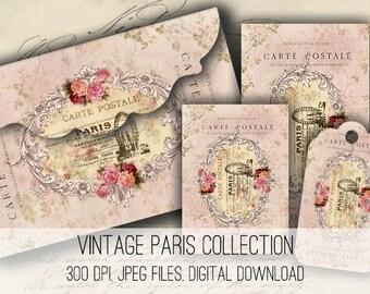 Digital Images - Digital Collage Sheet Download - Paris Envelopes, Tags & Cards - 1153  - Digital Paper - Instant Download Printables