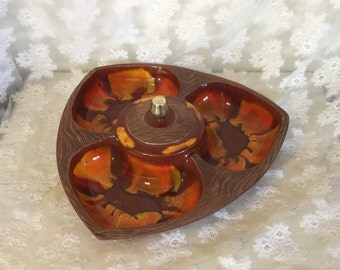Mid Century Ceramic Chip And Dip Dish made in USA Orange and Brown Swirl, Covered Dip Dish