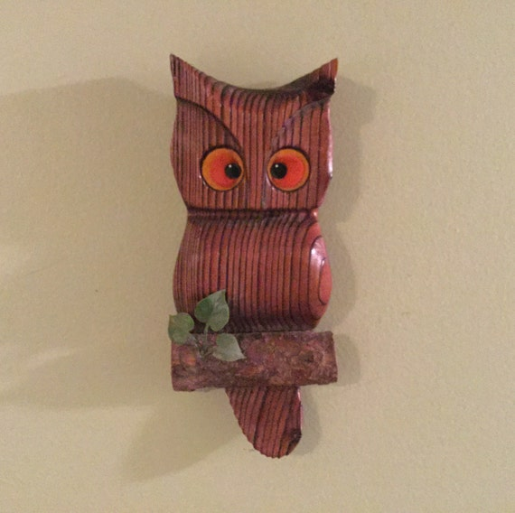 Wooden Owl Wall Decor : Vintage mid century wooden owl wall decor hanging