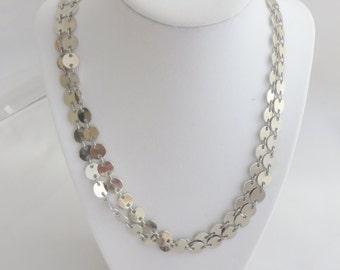 Long Silver Tone Chain Vintage Necklace