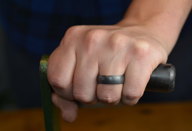 6mm half round mens wedding band rhodium plated