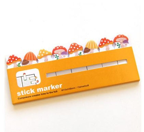 Sticky note - Mushroom -  Stick marker, memo marker, Post-it Sticker Marker tab, Bookmark tab, Stationery supplies
