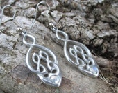 Vintage St Justin Pewter Celtic Knot Earrings with Moonstone