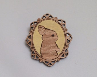 Laser cut wood brooch, Adorable little bunny rabbit cameo, handpainted yellow background