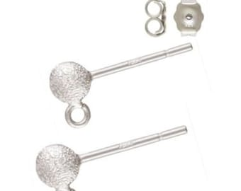925 Sterling Silver 4mm Stardust Ball Post Earrings with Ring