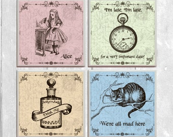 Alice in Wonderland - 4-pc. Ceramic Tile Coasters - Chesire Cat Drink Me Set No. 1