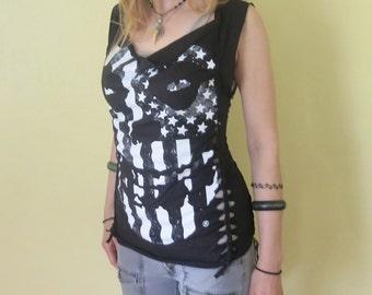 Misfits Shredded T Shirt Tank - One Of A Kind Creation - Band Shirt