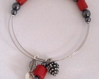 Healing Magnet Therapy Bracelet with Magnetic Hematite and Red Bamboo Coral