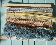 A selection of vintage French Passementerie Trim Remnants Assorted colours and Varieties