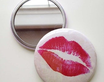 Lipstick Purse Mirror with felt pouch