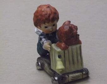 Vintage 1958 Goebel W. Germany Byj 28 Redhead Boy and Dog Figurine