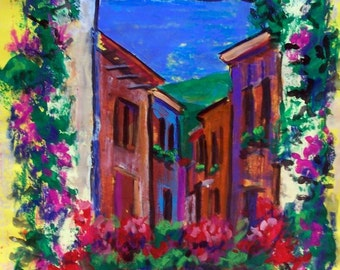 Original painting art Mexican street in San Miguel de Allende bright colorful architecture small town  home decor 19.5 x 25.5