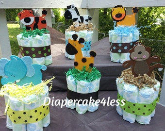 6 Jungle theme mini diaper cakes, baby shower centerpiece