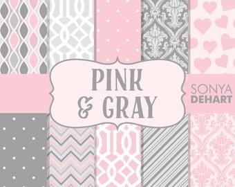 60% OFF SALE Pink and Gray Digital Paper Baby Girl Wedding Chevron Trellis Damask Hearts Polka Dots DP121