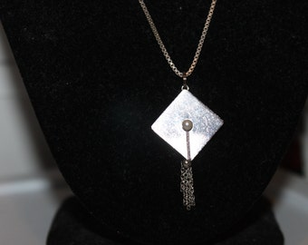 Sterling Graduation Cap & Tassle with Pearl Pendant Necklace