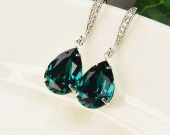 Emerald Green Earrings - Swarovski Earrings - Bridesmaid Earrings Silver - Wedding Jewelry - Bridesmaid Jewelry - Crystal Teardrop Earrings
