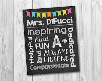Personalized Teacher's sign, chalkboard sign, Classroom sign, subway art, teacher appreciation gift