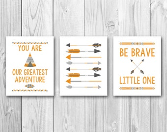 Be brave little one, tribal nursery art, instant download, baby shower gift, orange and gray