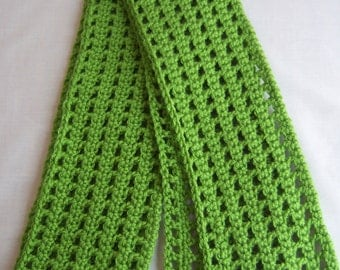Green Crochet Scarf - Long & Soft With Columns / Checkered Pattern