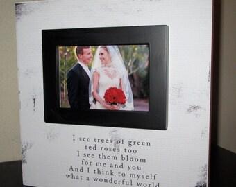 Lyric Wedding Anniversary Picture Frame Wood box Frame What a wonderful world