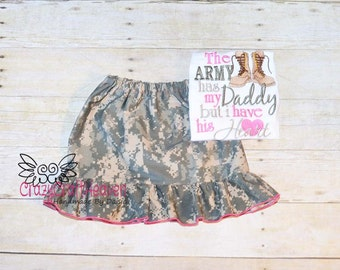Baby Girl military outfit, Military skirt, Grils military skirt and shirt